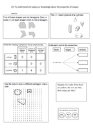 Shape differentiated worksheets