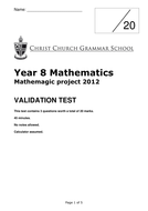 Year 8 Mathemagic Project 2012 - VALIDATION.docx