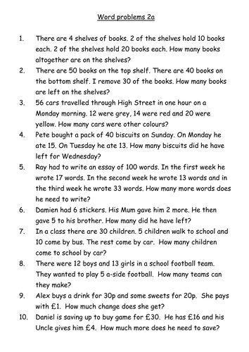 Year 3 and 4 word problems by sj_perkins88 - Teaching Resources - TES