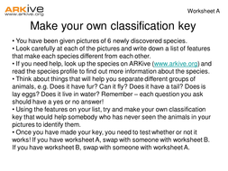 Newly Discovered Species - 7-11 - Make Your Own Classification Key Worksheet (A).ppt