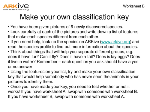 Species Discovery Keys and Classification by ARKive Teaching – Taxonomy Classification Worksheet