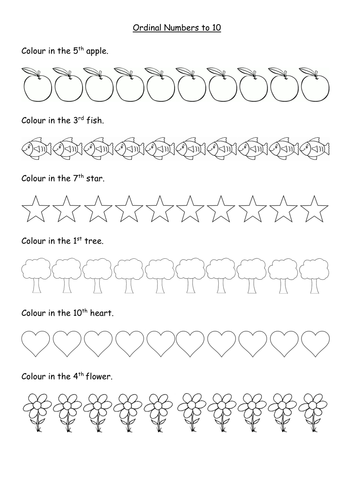 Ordinal numbers worksheets to 10th and 20th