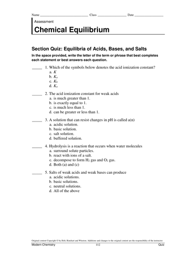 Chemical Equilibrium Test and worksheets by adnanansari - Teaching ...