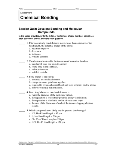 The World Of Chemistry Chemical Bonds Worksheet Answers - Worksheets