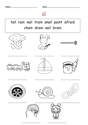 Ai Digraph Labelling Worksheet Ai By Barang Teaching