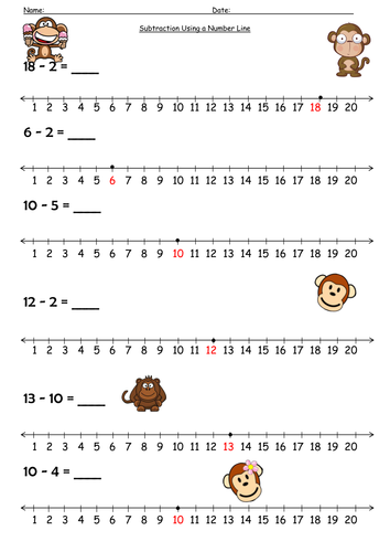 Subtraction Worksheets : number line subtraction worksheets Number ...