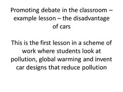 Promoting debate in the classroom – example lesson - cars for the future SVG.ppt