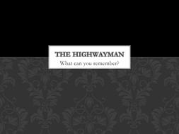 The Highwayman Initial Quiz
