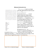 Electricity for 7-10 year olds; lesson, worksheet