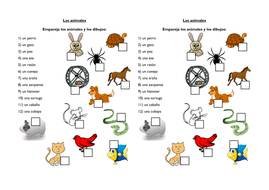 animals spanish lesson starter sheet pictures by myrtille teaching resources. Black Bedroom Furniture Sets. Home Design Ideas