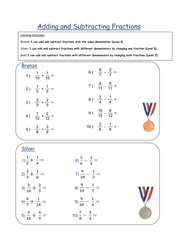 Adding & Subtracting Fractions Differentiated W/S by fionajones88 ...