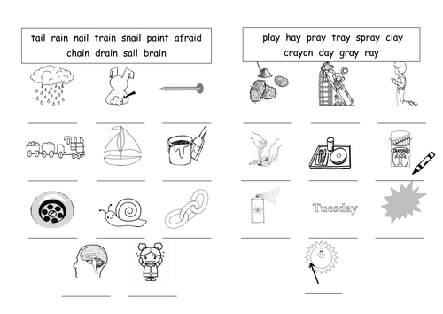 {ai ay long A sound worksheets by barang Teaching Resources Tes – Ai and Ay Worksheets