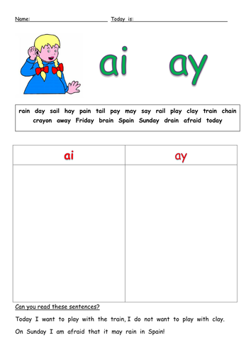 ai ay long A sound worksheets by barang - Teaching Resources - TES