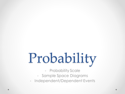 Probability scales, sample space diagrams