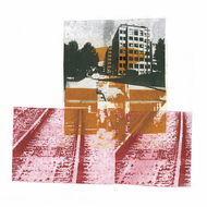 collage art: 'Train tracks and some residential buildings in Amsterdam City'; mono-print, made from her own photos, by Hilly van Eerten.jpg