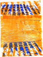 collage art: 'Roof-tiles, in Yellow and Blue'; a mono-print  made from her own photos, by Hilly van Eerten.jpg