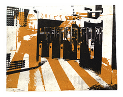 collage art: 'Entrance of Subway-station in Amsterdam City'; mono-print, made from her own photos, by Hilly van Eerten.jpg