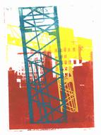 collage art: 'Construction-cranes in Manhattan, New York City 2.'; mono-print, made from her own photos, by Hilly van Eerten.jpg