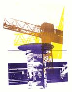 collage art: 'Billboards & Building Cranes'; mono-print, made from her own photos, by Hilly van Eerten.jpg