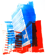 collage art: 'Former municipal Post Building in Amsterdam 2., at the Oosterdok water'; mono-print, made from own photos, by Hilly van Eerten.jpg