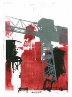 collage art: 'Construction-cranes in Manhattan, New York City 1.', mono-print, made from her own photos, by Hilly van Eerten.jpg