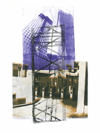 collage art: 'Two new-built sky-scrapers in the center of city The Hague''; mono-print, made from her own photos, by Hilly van Eerten.jpg