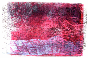 collage art: 'Red cobble-stones and Pavement'; mono-print, made from her own photos, by Hilly van Eerten.jpg