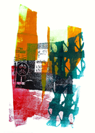 collage art: 'City-view in Amsterdam, center of the city'; mono-print, made from her own photos, by Hilly van Eerten.jpg