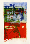 collage-art: 'Impressions of Daniël Meyer-plein, near the Flea-market', city-center of Amsterdam; mono-print, made from her own photos, by Hilly van Eerten.jpg
