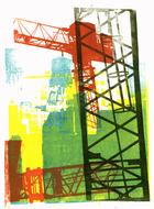 collage art: 'Building cranes in Manhattan, New York'; mono-print, made from her own photos, by Hilly van Eerten.jpg