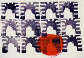 collage-art: 'The twelve Gates; mono-print, made from her own photos, by Hilly van Eerten.jpg