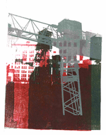 collage art: 'Grey Building crane in Manhattan with water tank on the roof'; mono-print, made from her own photos, by Hilly van Eerten.jpg