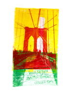 collage art: 'Brooklyn Bridge - in Yellow and Red'; a mono-print  made from her own photos, by Hilly van Eerten.jpg
