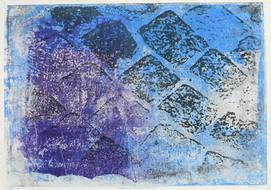 collage art: 'Pavement of  Cobble-stones in Blue and Black'; mono-print, made from her own photos, by Hilly van Eerten.jpg