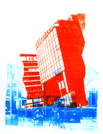 collage art: 'Former municipal Post Building in Amsterdam 1., at the Oosterdok water', mono-print, made from own photos, by Hilly van Eerten .jpg