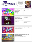 Willy Wonka themed weight word problems