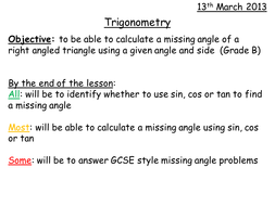 Trigonometry Missing Angles Grade B Level 8 By Whidds Teaching