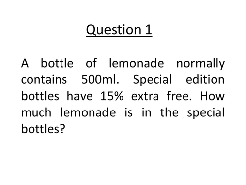 Word problems involving percentage change by jopage70 - Teaching ...