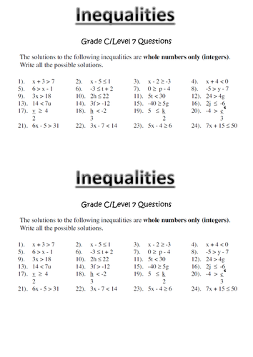 Free Worksheets » Number Line Inequality Worksheets - Free ...