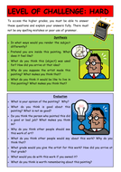 Art Challenge cards, differentiated questions
