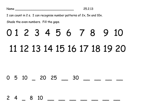 Counting in 2s 5s and 10s Block E by haremale Teaching Resources – Counting by 10s Worksheet