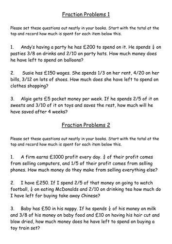 Fraction word problems by rich4ruth - Teaching Resources - TES