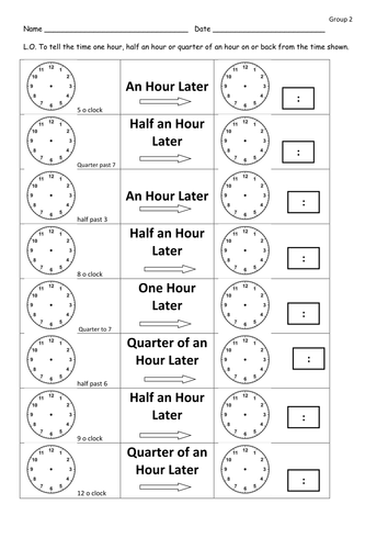 Time later and before differentiated worksheets by clara5 ...