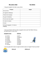 French Hobbies Grammar Worksheet By Ceanna Teaching Resources Tes