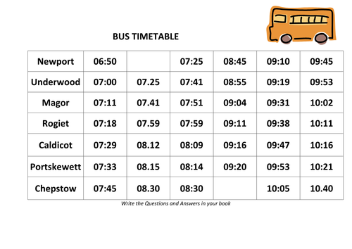 Bus and Train Timetable time problems by danadockaglory – Timetables Worksheets