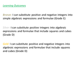 Substitution Differentiated Worksheet (Grade E/D)