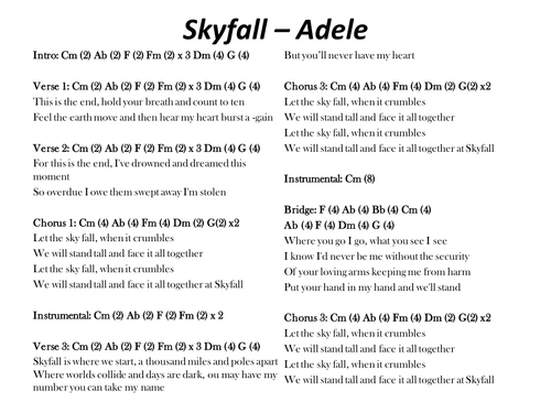 Adele - Skyfall 007 Theme Lyrics | MetroLyrics