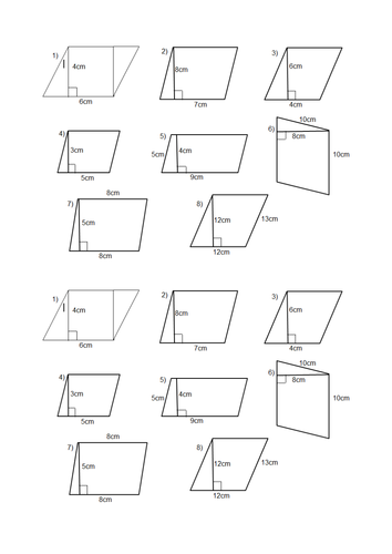 Worksheet Area Of Parallelogram Worksheet area of a parallelogram and trapezium lesson by jazzyfootsteps teaching resources tes