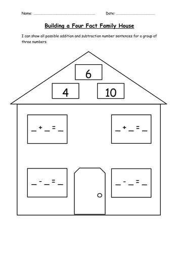 Fact family houses; inverse operations by choralsongster ...