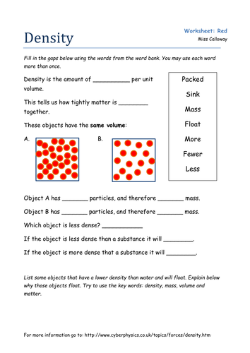 Worksheet Density Worksheets an introduction to density by olivia calloway teaching resources red worksheet docx